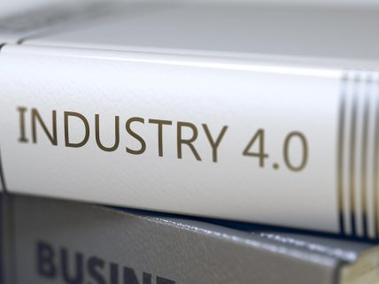 Book Title of Industry 40. Business - Book Title. Industry 4 0. Industry 4 - Book Title. Industry 40. Book Title on the Spine. Blurred Image with Selective focus. 3D Illustration.